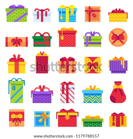Flat Christmas Gifts Winter Holiday Surprise Stock Vector (Royalty ...