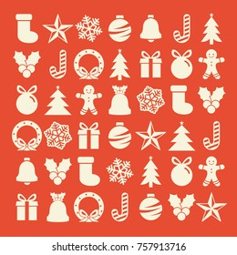Flat christmas icons seamless pattern element vector background