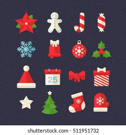 Flat Christmas ornaments icon set