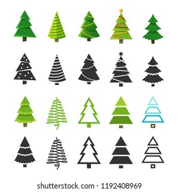Flat christmas winter trees with festive xmas decoration and black fir tree silhouettes vector collection. Christmas winter tree big set