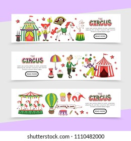 Flat circus horizontal banners with clowns magician horse rabbit dog stage tent sweets hot air balloon jester hat carousel popcorn vector illustration