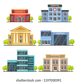 Flat city buildings. Contemporary office center, hospital facade and city hall building. Modern theater, office center and cinema construction exterior vector isolated illustration icons set