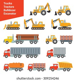 Flat city construction transport icon set. Excavator tractor grader bowser fueler cistern truck loader wrecker log truck. Build your own world web infographic collection.
