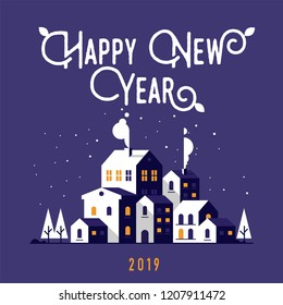 Flat City Happy New Year Illustration