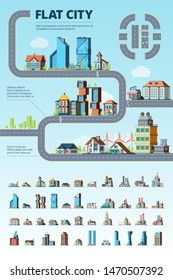 Flat city infographic. Cityscape municipal buildings urban road architectural elements vector creation kit. Illustration of infographic road, building house on map