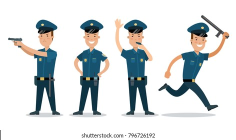 Flat city policemen police man vector illustration. Municipal profession, law and order concept. Male security officer with tools: baton, whistle, weapons gun