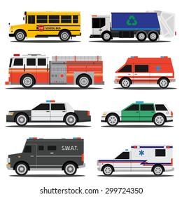 Flat city service cars, policem ambulance, fire engine, school bus, garbage truck