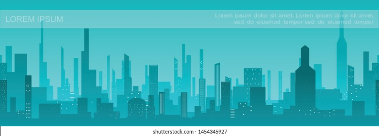 Flat city silhouette background with modern buildings and skyscrapers in turquoise colors vector illustration