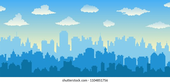 Flat cityscape with blue sky, white clouds over city and sunset/sunrise. Modern morning city skyline panoramic vector background. Urban city tower illustration, wallpaper. Silhouette of skyscrapers.