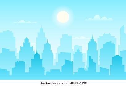 Flat cityscape. Modern city skyline, daytime panoramic urban landscape with silhouette buildings and skyscraper towers vector sunlight facade panorama outline construction banner