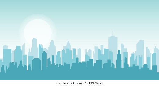 Flat cityscape. Vector illustration. Modern City Skyline, Daytime Panoramic Urban Landscape with Silhouette Buildings and Skyscraper Towers
