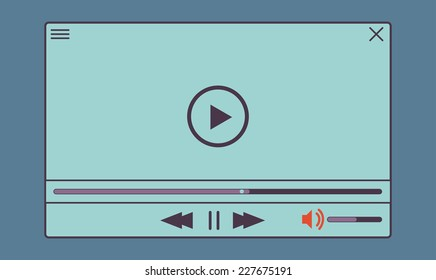 Flat clean video player for web and mobile apps