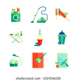 Flat cleaning service icon set vector illustration