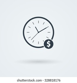 Flat clock icon. Simple vector illustration. Logo. Pictogram. Button.