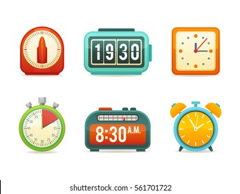 Flat clock icons set with digital and analog displays, kitchen timer, flip clock, modern wall clock, sport stopwatch, alarm with bells