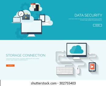 Flat cloud computing background. Data storage and virtual hosting. Information transfer. Web media server.