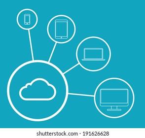 Flat Cloud Computing Concept