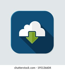 Flat cloud download icon for application on grey background