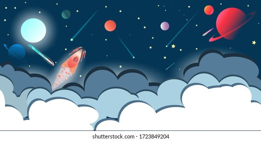 Flat clouds in a front of space sky with planets, falling stars and Ursa Major, rocket and asteroids. Vector illustration.