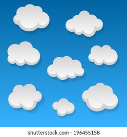 Flat clouds on blue sky and beautifull shadow. Vector elements for you design.