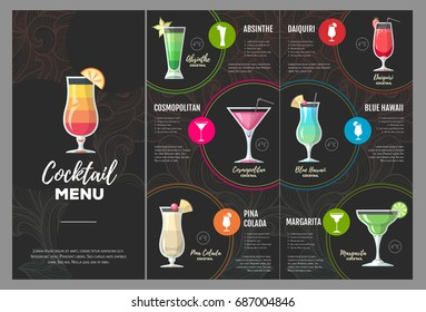 Flat cocktail  menu design.