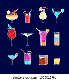 Flat cocktails. Alcohol drinks in glasses with straw. Margarita, whiskey and gin tonic, pina colada cocktail vector isolated set