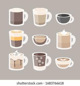 Flat coffee set. Vector illustration