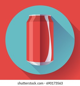 Flat cola can soda can vector illustration Cola can vector icon.
