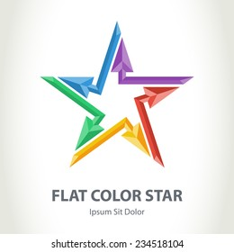 Flat color 3d star logo with arrows. Colorful Star-shaped vector logotype template.