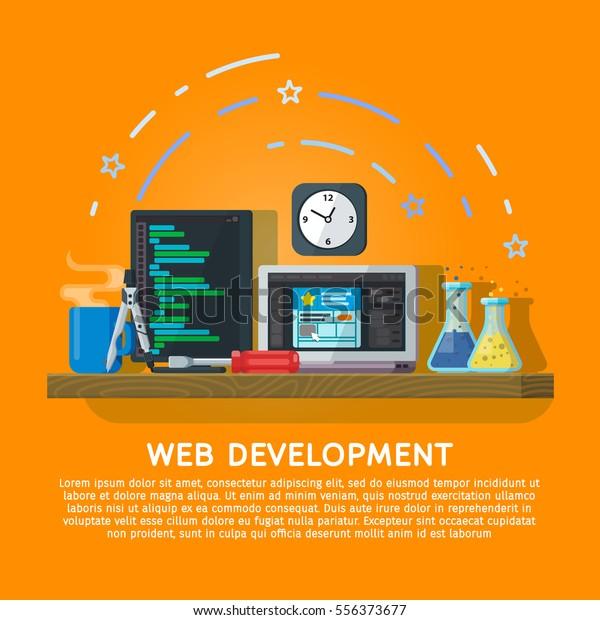 Flat color banner design concept for creative studio. Programming and coding. Modern flat design for Web Banner, Website Element or Book cover. Workspace designer and programmer. Vector illustration
