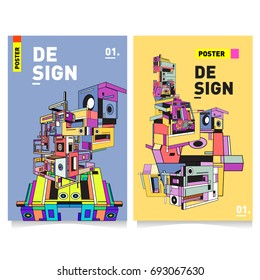 Flat color covers set. Abstract colorful geometric 3d shapes with typography poster design template. Trendy design and colorful summer theme.