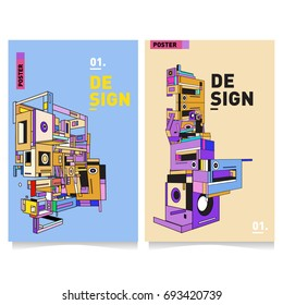 Flat color covers set. Abstract colorful geometric 3d shapes with typography poster design template. Trendy design and colorful theme.