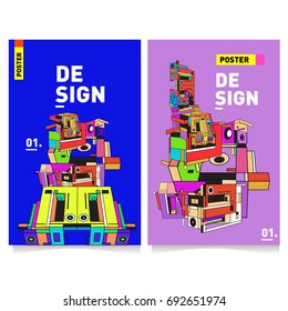 Flat color covers set. Colorful Abstract geometric 3d shapes with typography poster design template. Trendy design and colorful summer theme.