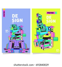 Flat color covers set. Colorful geometric shapes with typography poster design template. Trendy design and colorful summer theme.