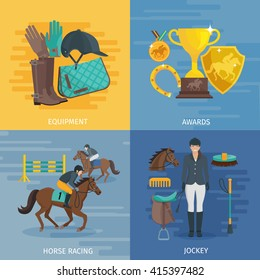 Flat color design composition 2x2 depicting concept of horse racing equipment equestrian awards jockey vector illustration