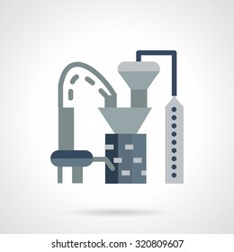 Flat color design plastics processing plant vector icon. Industrial buildings and architecture, environment pollution. Web design elements.