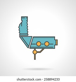 Flat color design vector icon with black contour for blue gynecology colposcopy device on white background.