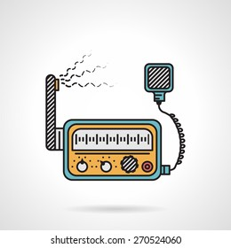 Flat color design vector icon for radio transceiver VHF device on white background.