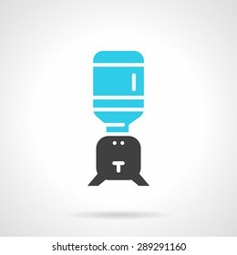 Flat color design vector icon for table cooler with a bottle on white background.