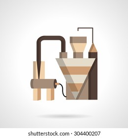 Flat color design vector icon for grain factory or plant. Agriculture industry buildings and structures. Design element for business and website. Element for the logo