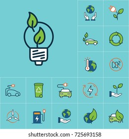 flat color efficient light bulb icon, green energy set on blue background