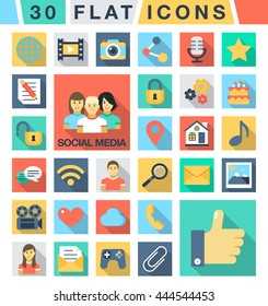 Flat color icons. Social media and network: cloud, email, like, avatar, chat, heart, photo, search, home, game. Set for mobile and web applications. Vector EPS10.