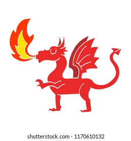 flat color illustration cartoon red dragon