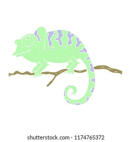 flat color illustration of chameleon
