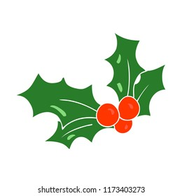 flat color illustration of christmas holly