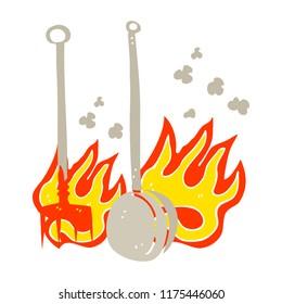 flat color illustration of hot fireside tools