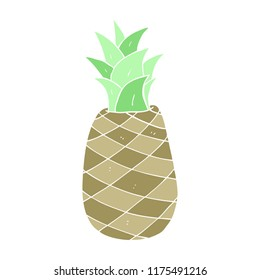 flat color illustration of pineapple