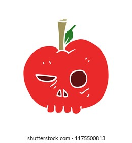flat color illustration of poison apple