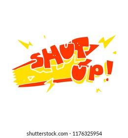 flat color illustration of shut up! symbol