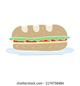 flat color illustration of sub sandwich